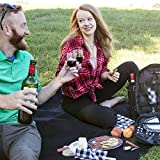 Plush Picnic - Picnic Bag Backpack/Insulated Picnic Basket, Detachable Bottle/Wine Holder, Fleece Blanket, Plates and Cutlery Set