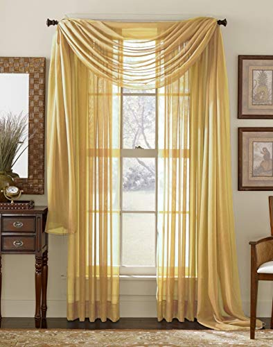 (HLC.ME Gold Sheer Voile Window Curtain Swag Scarf - Valance - Fully Stitched & Hemmed - 55