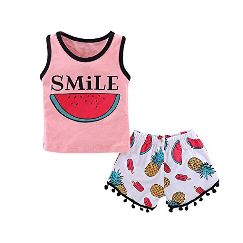 MIOIM Kids Girls Smile Watermelon Letter Sleeveless Vest T Shirt Tops + Tassel Shorts Beach Casual Outfits Set
