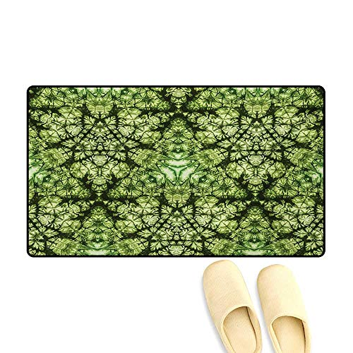 Bath Mat,Free Abstract Nature Inspired Mind Bind Folded Color Silhouette Counter Culture Artsy,Door Mats for Home,Green,16