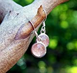 Recycled Antique Pink Depression Glass Color Dot Earrings