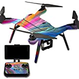MightySkins Protective Vinyl Skin Decal for 3DR Solo Drone Quadcopter wrap cover sticker skins Rainbow Waves