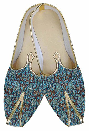 INMONARCH Mens Teal Brocade Wedding Shoes Paisley Pattern MJ0017 08Gg3