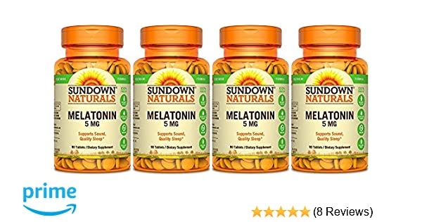 Amazon.com: Sundown Naturals Melatonin Extra Strength 5mg, 360 Tablets (4 X 90 Count Bottles): Health & Personal Care