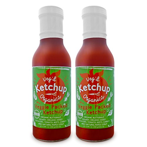 (Veg'd Organics All-Natural, Hidden Veggies Ketchup - Certified Gluten-Free, Reduced Sugar, Diabetic/Vegan/Keto/Paleo/Atkins Friendly, Plant-Based, Great Tasting Ketchup (12oz Glass Bottle, 2-Pack))