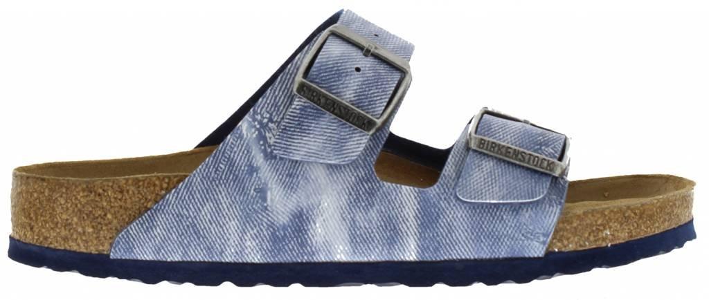BIRKENSTOCK Sandale  Damen und Herren  Original Kork Fußbett Sandale  Arizona mit Soft Footbed (SFB)  Denim  Jeans Look Used Jeans Blue