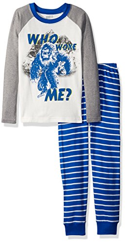Crazy 8 Little Boys' 2-Piece Long Sleeve Tight Fit Pajama Set, White Who Woke ME, 8