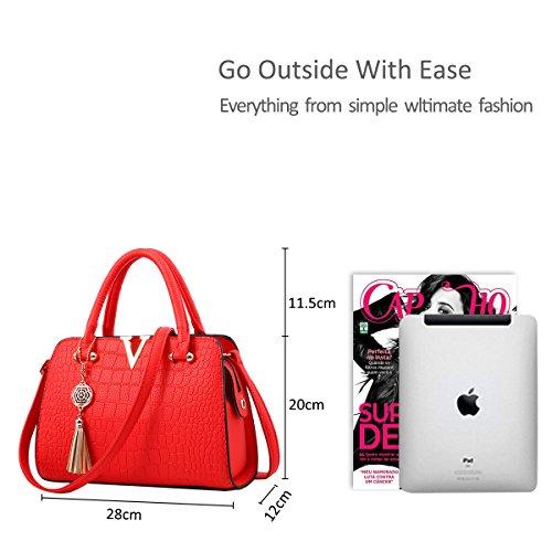 Black Crossbody Bag Purse Leather PU Nicole amp;Doris Fashion Red Shoulder Women Handbag Satchel wn6ZqP
