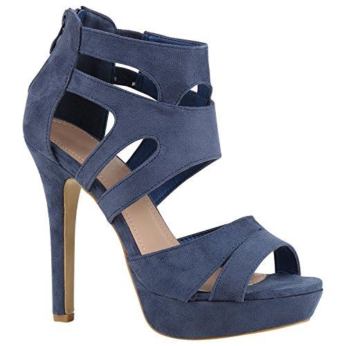 Stiefelparadies Damen Plateau Sandaletten mit Pfennigabsatz Flandell Blau Velours