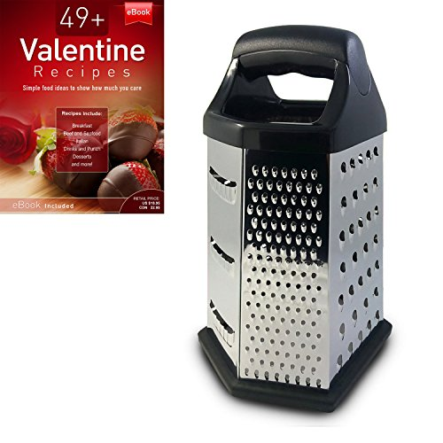 Cheese Grater, Box Design, Stainless Steel, Multi-purpose, 6 Sided Hex, Cooking Secrets Ebook (Multi Purpose Cheese Grater)