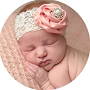 Miugle Baby Girl Lace Headbands with Rhinestone Bows