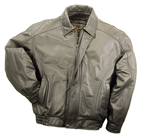 REED Men's American Style Bomber Genuine Leather Jacket (Large, - Mens Jacket Brown Genuine Leather