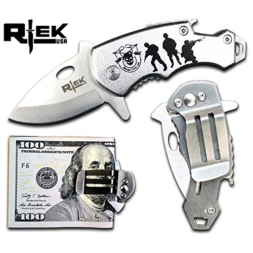 RTek USA Tactical Money Clip Bottle Opener Folding Spring Assisted Open Knife 7 Variations Army, Navy, Marines, Special Forces, Fire Department, Police, Air Force, (Special Forces)
