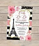 Paris Baby Shower Invitation, Eiffel Tower, Stripes And Flowers Girl Baby Shower Invitation, Parisian Baby Shower Invitation for Baby Girl