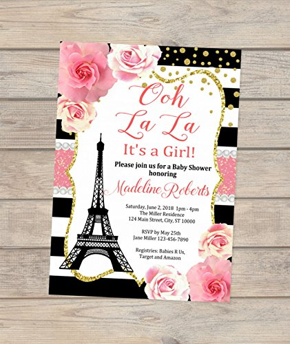 Amazon Paris Baby Shower Invitation Eiffel Tower Stripes And