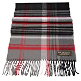 Rosemarie Collections 100% Cashmere Winter Scarf Made In Scotland (Scarlet and Grey Plaid)