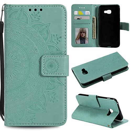 Galaxy A3 2017 Floral Wallet Case,Galaxy A3 2017 Strap Flip Case,Leecase Embossed Totem Flower Design Pu Leather Bookstyle Stand Flip Case for Samsung Galaxy A3 2017-Green by Leecase