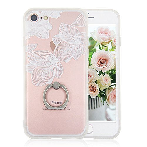 iPhone 7 Case Finger Ring Stand - JAZ Ultra Thin [3D Relief Sculpture] Silicone Case Cover With 360 Rotating Ring Grip/Stand Holder/Shockproof for iPhone 7 / iPhone 8 (Mandala)