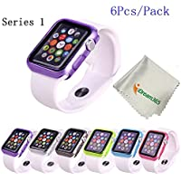 Apple Watch Case,iDream365(TM) Apple Watch Series 1 38mm Case-6 Color Combination Pack Protective TPU Case for...