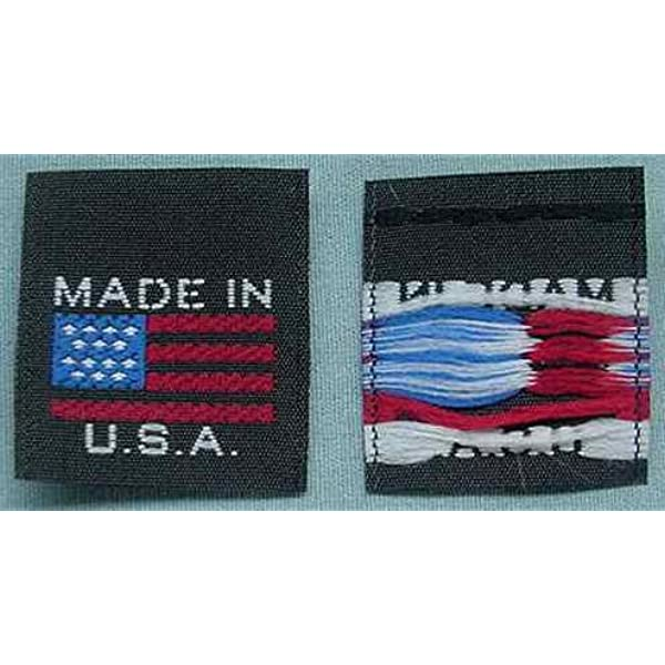 AMERICAN FLAG 100 PCS WOVEN CLOTHING LABELS BLACK MADE IN U.S.A