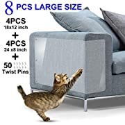 "Furniture Scratch Guards, X-Large Premium Flexible Vinyl Cat Couch Protector Guards with Pins for Protecting Your Upholstered Furniture, Cat Scratch Deterrent Pad, 18"" L X 12"" W & 24"" L X 8"" W"
