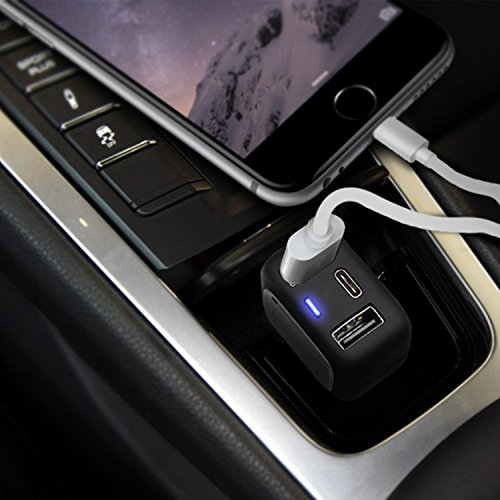 Qualcomm-Certified-3-port-Car-Charger-Qualcomm-Quick-Charge-30-USB-Type-C-USB-C-Total-33W-6A-for-Samsung-iPhone-iPad-LG-Nexus-HTC-and-MacBook-More-Emergency-Car-Window-Hammer