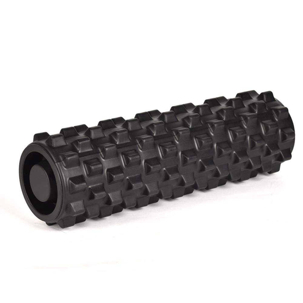 Black Yoga Foam Roller,Textured Muscle Foam Roller for Muscle Therapy and Balance Exercises, Solid Foam Roller
