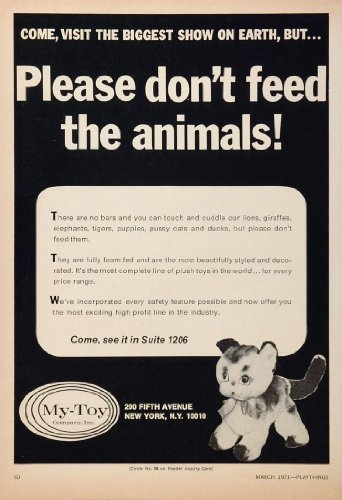 1971 Ad My-Toy Stuffed Animals Plush Toy Kitten Cat - Original Print Ad from PeriodPaper LLC-Collectible Original Print Archive