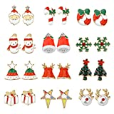 Women Christmas Earring Stud - 12 Pairs Hypoallergenic Christmas Gifts for Teens Girls Kids Cute Festive Earrings Jewelry Set Party Gold-tone