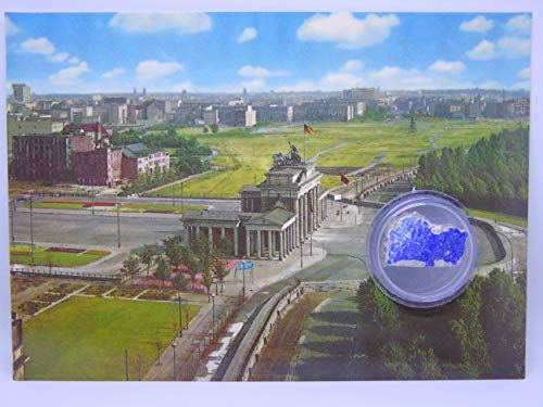 POSTCARD WITH SMALL AUTHENTIC PIECE OF THE BERLIN WALL'Brandenburg Gate air view', Germany