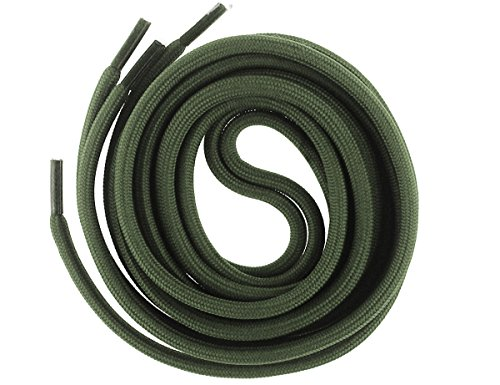 Mshega 6mm Round Athletic Shoelaces Solid Colors Shoe Laces (Army Green,140)