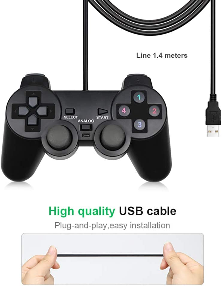 TEHWDE 2Pcs Wired USB Controller Gamepad USB Interface Plug and Play,no Driver Needed for WinXP//Win7//Win8//Win10 for PC Computer Laptop Black Game Joystick