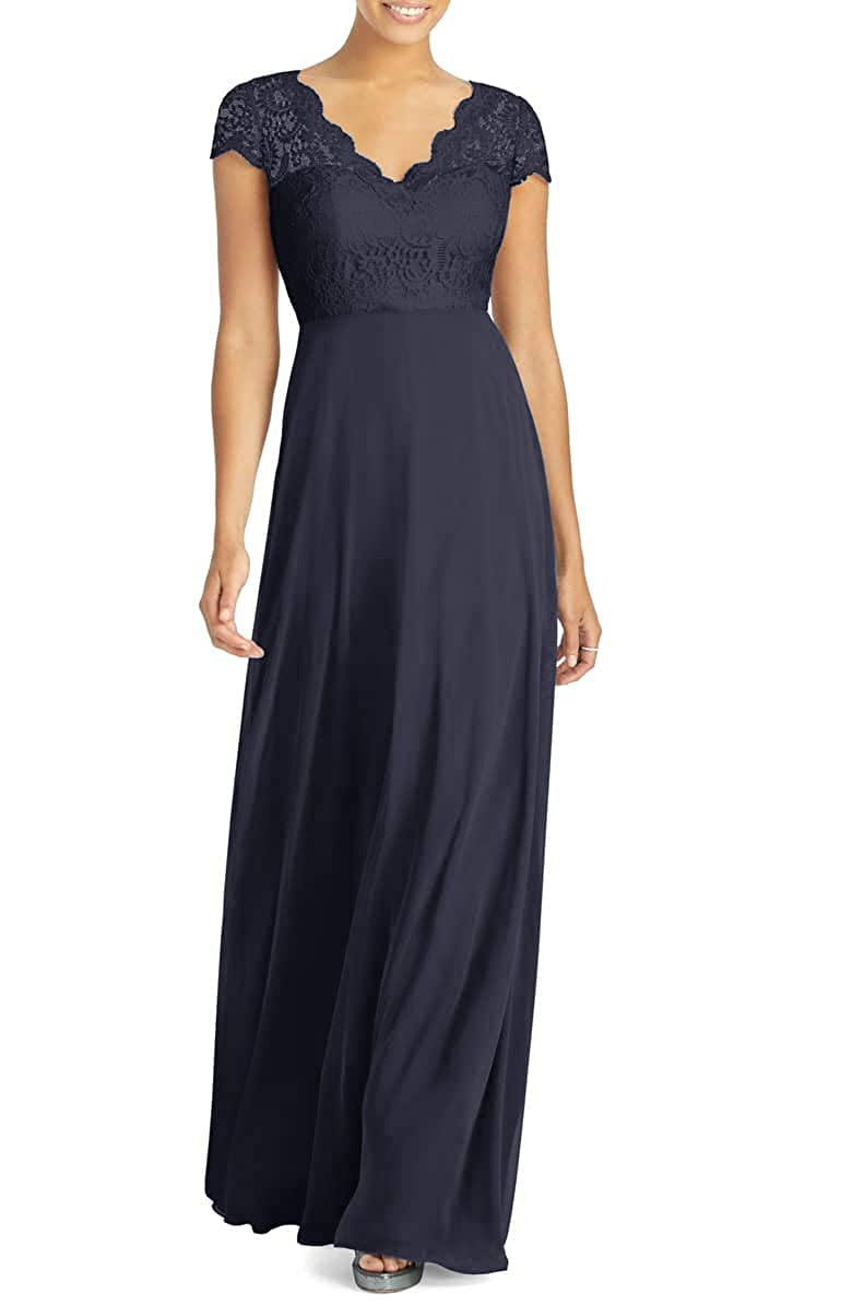 Navy bluee Mother of The Bride Dresses Short Sleeve Lace Party Formal Evening Gown Plus Size Mothers Bride Dress
