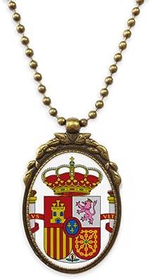 DIYthinker España Europa Emblema Nacional Latón Antiguo Collar Colgante Vintage Joyería Deluxe Regalo: Amazon.es: Joyería