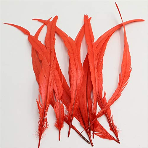 Pukido 35-40cm/14-16inch Badger Saddle Rooster Tail Feathers red Color conque Chicken Feather for Party Christmas Wedding Decoration by Pukido (Image #1)