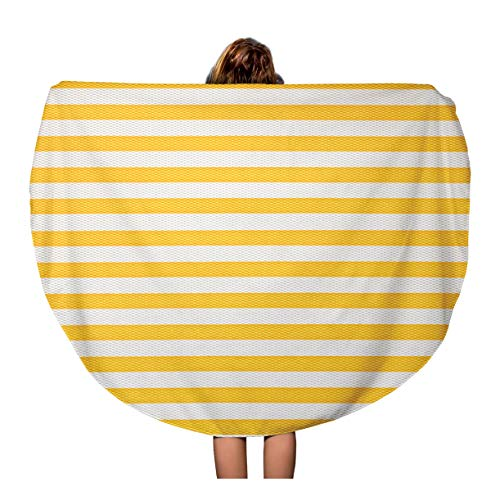 Semtomn 60 Inches Round Beach Towel Blanket Colorful Stripe Yellow Line Pattern Simple Strip Bright Color Travel Circle Circular Towels Mat Tapestry Beach Throw