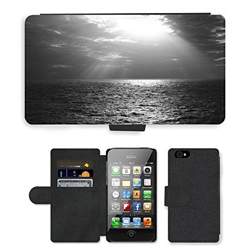 PU Leather Cover Custodia per // M00421581 Rayons de soleil Sky Clouds mer océan // Apple iPhone 4 4S 4G