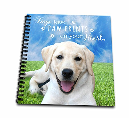 3dRose db_123126_1 Dogs Leave Paw Prints on Your Heart Quote Cute Happy Golden Labrador Puppy Outdoor Photography Drawing Book, 8 by 8-Inch