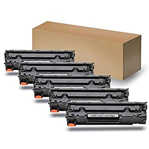 HTMALL Compatible with HP CB435A Compatible Toner Cartridge Black 5 PCS