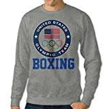 Men's Team USA Boxing 2016 Olympic Round Collar Pullover Hoodies SweaterAsh Size L