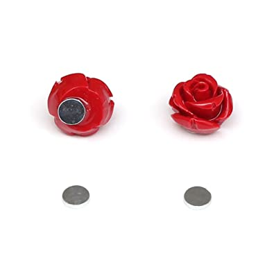 Idin Magnetic Earrings - Black rose flower magnetic earrings for non-pierced ears 10 mm (diameter 10 mm) XcKUn1V