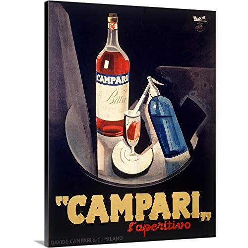 Canvas on Demand Premium Thick-Wrap Canvas Wall Art Print entitled Italian Campari Aperitif Liquer Vintage Advertising Poster 18''x24'' by Canvas on Demand