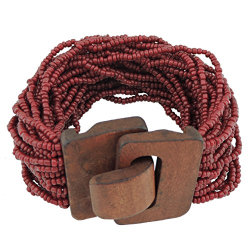Coiris Wooden Buckle Clasp Multi Layers Beads Wide Bracelet for Women With Elastic (BR1167-wine) - Womens Multi Buckle