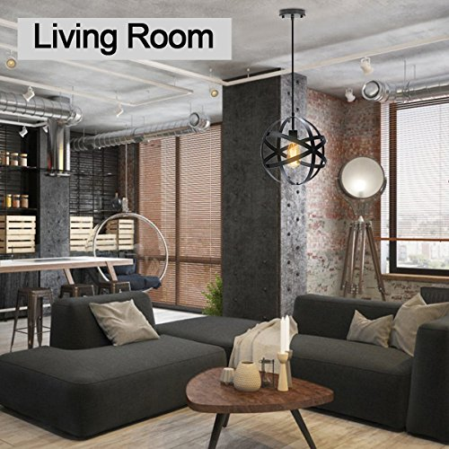 KingSo Industrial Metal Pendant Light, Spherical Ceiling Light Globe Hanging Light Fixture for Kitchen Island Dining Table Bedroom Hallway by KINGSO (Image #2)