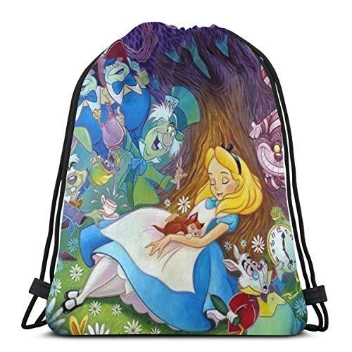 MPJTJGWZ Classic Drawstring Bag-Alice in Wonderland Gym Backpack Shoulder Bags Sport Storage Bag for Man Women