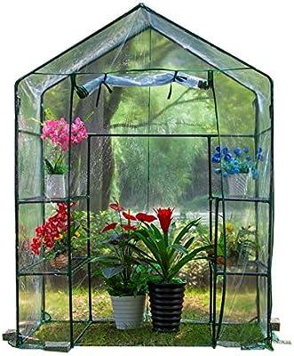 Lona- PVC Cabina de Efecto Invernadero - Exterior Plantas de jardín Carpa 2 Niveles 4 estantes, protección UV, prevención-Insecto 143 × 73 × 195 cm: Amazon.es: Hogar