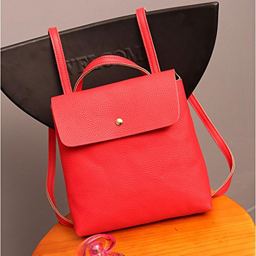 Travel Fashion School Bag Purse Backpack Satchel Leather Inkach Womens Red Rucksack Bags qB87wSx