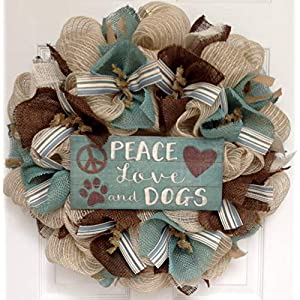 Peace Love and Dogs All Occasion Burlap Welcome Wreath Handmade Deco Mesh 70