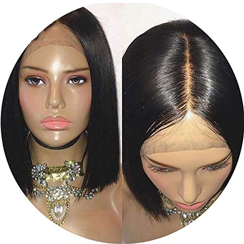 Bob Lace Front Wigs Straight Short Human Hair Wigs Lace Frontal PrePlucked With Baby Hair Non-Remy Hair Deep Part,Natural Color,12inches]()