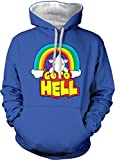 Go to Hell Adult Two Tone Hoodie Sweatshirt (Royal Blue/White Strings, XX-Large)
